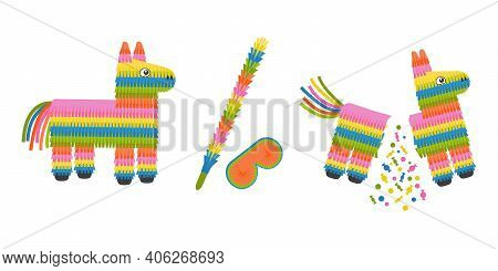 Whole And Broken Pinata Donkey Toy With Eye Mask And Stick. Full And Empty Pinata Isolated On White