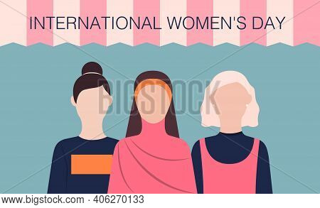 International Women's Day Vector Illustration In Flat Design Different Women In Casual Style On Blue
