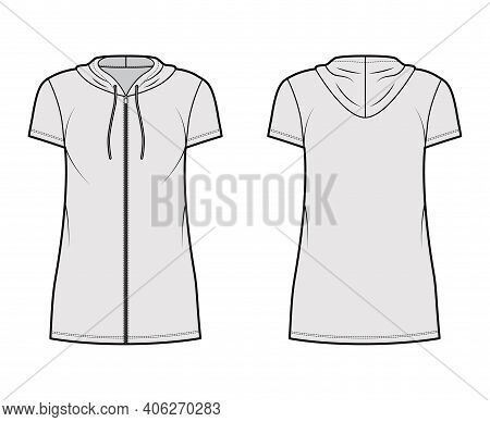 Hoodie Zip-up Dress Technical Fashion Illustration With Short Sleeves, Mini Length, Oversized Body,