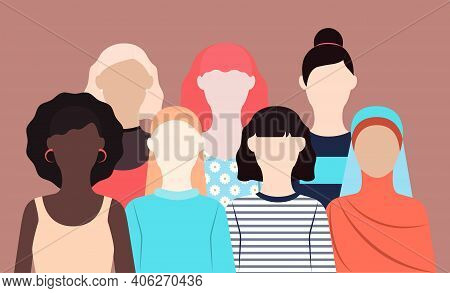 Sisterhood And Friendship Vector Illustration In Flat Design Seven Women Of Different Nationalities