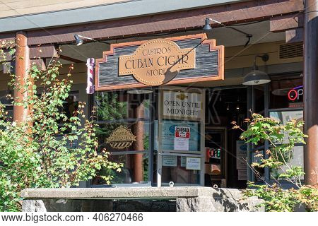 Whistler, Canada - July 5,2020: View Of Sign Castros Cuban Cigar Store In Whistler Village