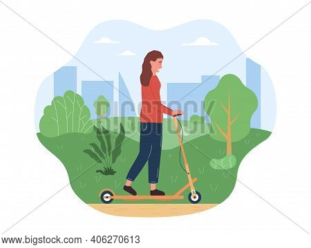 Female Character Is Riding Eco Transport In The Park. Woman Is Enjoing Spending Time Outdoors In The