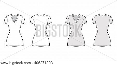 T-shirt Dress Technical Fashion Illustration With V-neck, Short Sleeves, Mini Length, Fitted Body, P