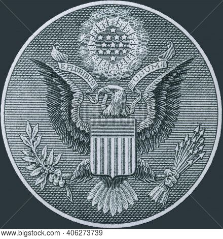 Great Seal Of The United States Obverse From The Back Of A One Dollar Bill. The Bald Eagle Carries A