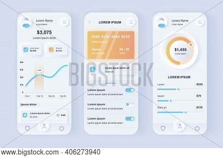 Online Banking Unique Neomorphic Design Kit. Smart Finance Application With Manage Transactions And