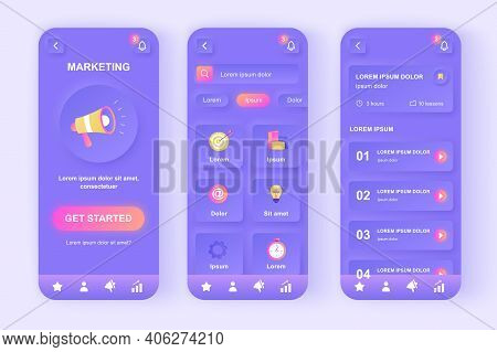 Digital Marketing Unique Neomorphic Design Kit. Business Analysis, Content Strategy, Research And Ma
