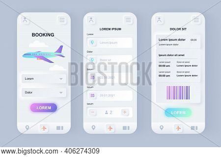 Flight Booking Unique Neomorphic Design Kit. Online Air Tickets Search And Reservation, Departure An