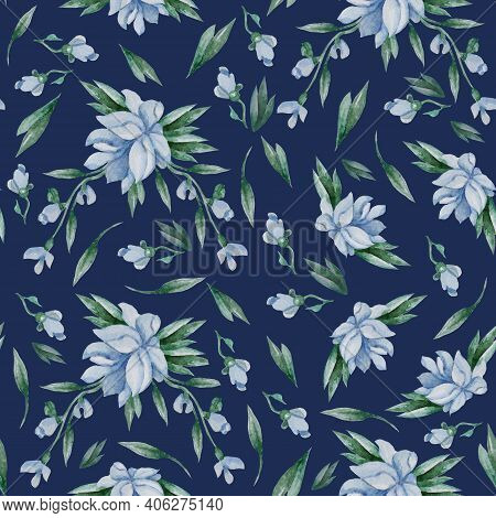 Seamless Patterns. Blue Flowers, Buds And Leaves On A Dark Blue Background. Watercolor. Floral Patte