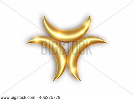 Triple Golden Goddess Mystical Moon Phases, Gold Luxury Logo Design, Golden Moon Magic Symbol, Runic