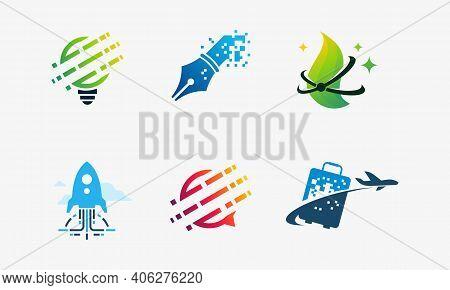 Set Of Technology Logo, Tech Bulb, Pixel Pen Logo, Nature Tech, Fast Tech, Tech Consult, Pixel Suitc