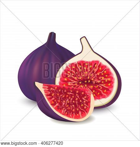 Fresh Ripe Delicious Juicy Figs Whole And Cut In Half And Quarter.  Vector Illustration Of Fresh Fig