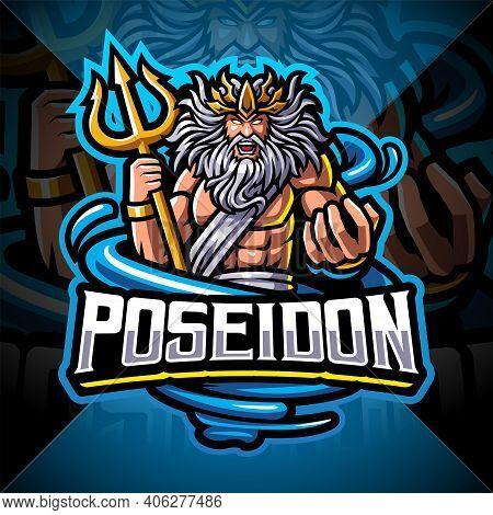 Poseidon Esport Mascot Logo Design With Trident Weapon