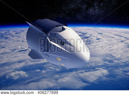 Commercial Crew Spacecraft Orbiting Planet Earth. 3d Illustration.