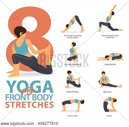Infographic Of 8 Yoga Poses For Workout At Home In Concept Of Yoga For Body Stretches Flat Design. W
