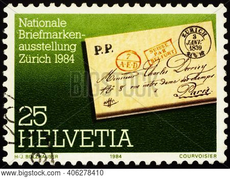 Moscow, Russia - January 31, 2021: Stamp Printed In Switzerland Shows Pre-philatelistic Letter, Seri