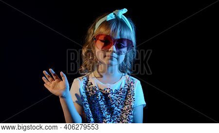 Futuristic Hipster Teen Girl Waving Hand Hello, Hi, Welcome, Bye, Greetings In Slow Motion At Disco
