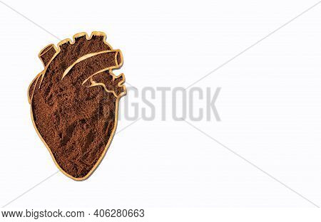 Roasted And Ground Coffee In The Heart Shaped Bowl