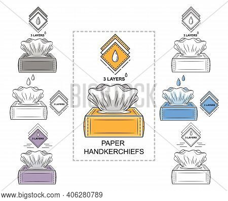 Paper Disposable Handkerchiefs Tissues Box Icon Set. Hygienic Napkins For Runny Nose. Open Package W