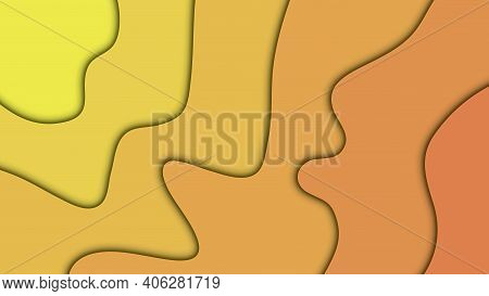 Yellow Paper Cut Background. Paper Art Cartoon Abstract Waves. Smooth Origami Art Shape Paper Cut.ve