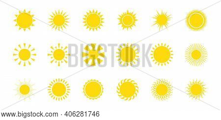 Sun Icon Set. Yellow Sun Icon Set Isolated On White Background. For Summer. Elements For Design. Vec