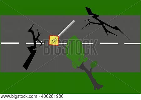 Earthquakes Damaged Roads Illustration.  Perfect For Earthquakes News Articles Background