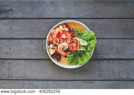 Spicy Thai Fruit Salad With Shrimps On Wooden Table At Cafe , Thai Spicy Style Healthy Food Thai Cui