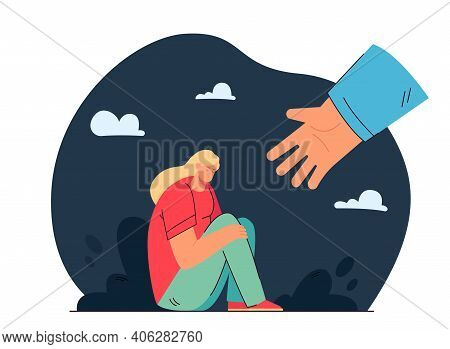 Unhappy Girl Sitting In Depression And Hand Helping Her Flat Vector Illustration. Cartoon Sad Woman