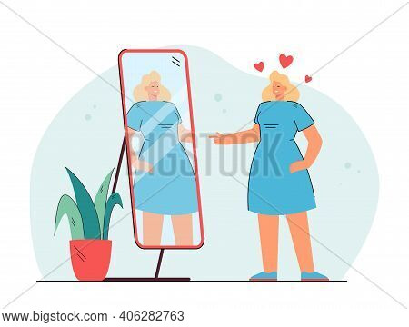 Cheerful Young Lady Looking At Mirror And Winking Isolated Flat Vector Illustration. Cartoon Woman C