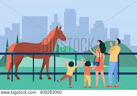 Family Looking At Horse In City Park. Parent And Kids Visiting Zoo Or Hippodrome. Flat Vector Illust