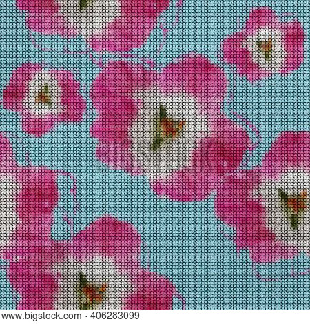 Illustration. Cross-stitch. Geranium Flowers. Texture Of Flowers. Seamless Pattern For Continuous Re