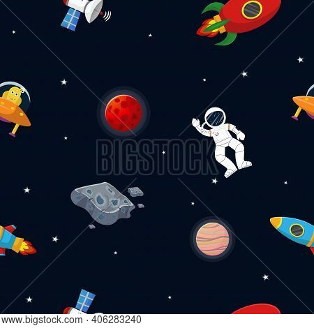 Flat Cartoon Style Space Pattern. Astronaut With