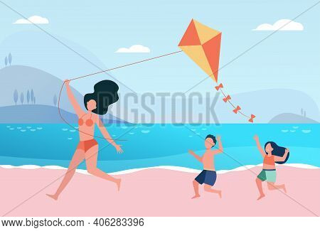 Happy Mom With Kids Flying Kite On Beach. Family Having Fun At Seaside. Flat Vector Illustration. Su