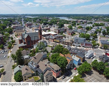 Aerial View Of Historic Buildings On Cabot Street In Historic City Center Of Beverly, Massachusetts