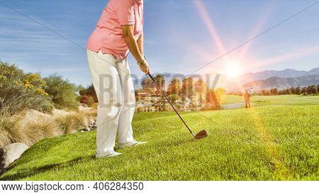 Photo of female senior golfer playing