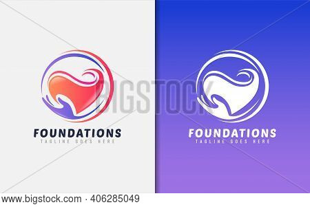 Modern Foundations Logo Design. Abstract Hand That Holds The Hearth Symbol. Usable For Business, Com