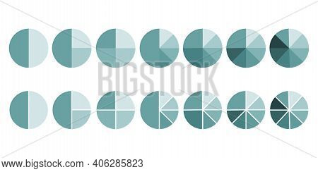 Green Pie Sector Circles. Business Design. Set Of Round Percentage Charts. Vector Illustration. Stoc