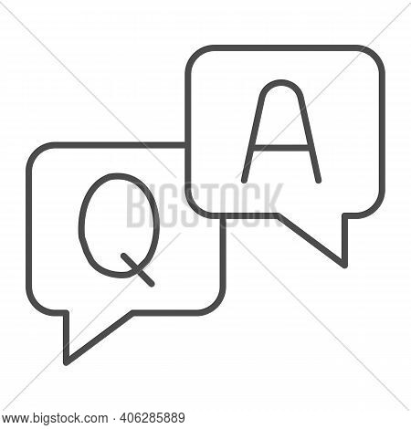 Question And Answer Dialogues Thin Line Icon, Online Education Concept, Q And A Word In Speech Bubbl