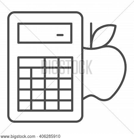 Calculator And Apple Thin Line Icon, Diet Concept, Counting Calories Sign On White Background, Calor