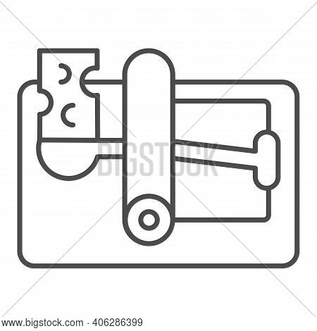 Mousetrap With Cheese Thin Line Icon, Pest Control Concept, Mouse Trap Sign On White Background, Rod