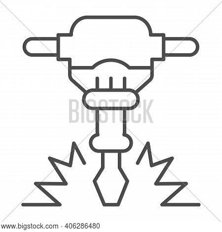 Construction Jackhammer Thin Line Icon, Labour Day Concept, Concrete Breaker Sign On White Backgroun