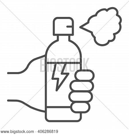 Hand With Balloon Of Poison For Insects Thin Line Icon, Pest Control Concept, Insect Spray Sign On W