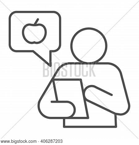 Healthy Food Consultant With Smartphone Thin Line Icon, Diet Concept, Chat With Fruit Logo And Perso