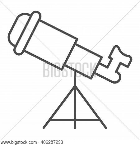 Telescope Thin Line Icon, Startup Concept, Monocular Sign On White Background, Spyglass Icon In Outl