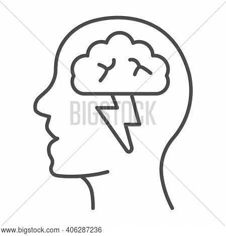 Human Head With Brain And Lightning Thin Line Icon, Startup Concept, Brainstorm And Ideas Sign On Wh