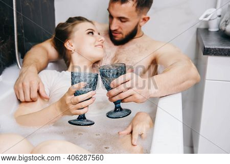 Loving Couple Story Having A Passion Moment In Their Vacation Honeymoon. Husband And Wife Spending N