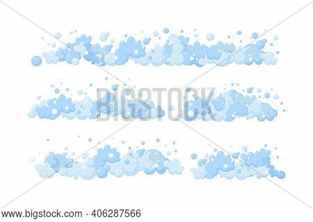 Foam Made Of Soap Or Suds. Horizontal Dividers Of Suds And Bubbles. Vector Illustration In Cartoon S
