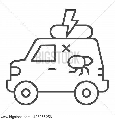 Pest Control Car Thin Line Icon, Pest Control Concept, Insect Repellent Service Sign On White Backgr