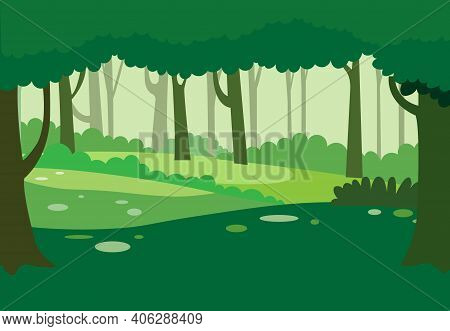 Green Natural Forest Background Vector.nature Landscape With Trees.jungle Nature Scene.
