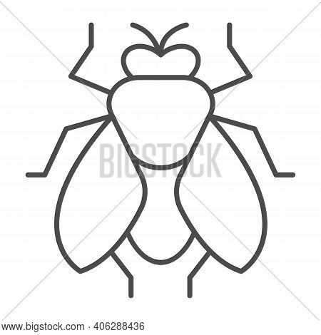 Fly Thin Line Icon, Pest Control Concept, Insect Sign On White Background, Fly Silhouette Icon In Ou