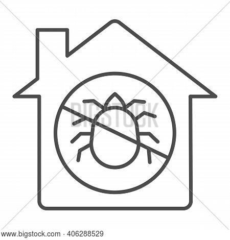 House With Ban On Insects Thin Line Icon, Pest Control Concept, Ban Mites Sign On White Background,